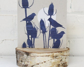 Greetings Card, Blue Moon Goldfinch, Unique card, Blue print, grey background