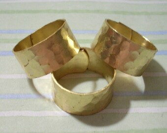 3 Hammered Brass Pattern Wide Rings Cuff Rings Midi Rings Hammered Rings