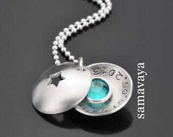 Baptism chain with engraving asterisk 925 silver necklace with birth stone children's necklace