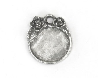 ImpressArt Artisan Pewter Stamping Blank - Round with Flowers - Ready to stamp - Made in USA