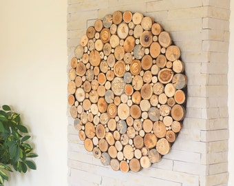 Round wood wall art , Tree rounds decor, holzwand kunst, tree slices wall art, modern wood wall art