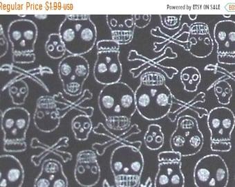 ON SALE 80% OFF Skull Fabric - Pirate - Punk Rock - Fabric - Silver - Black - Metallic - Skulls  - Skull and Crossbones - Cotton Fabric - Re