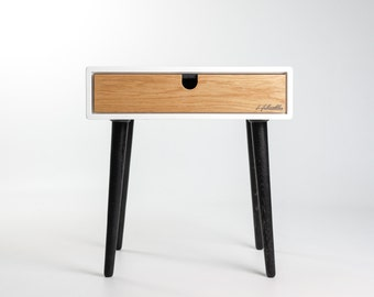 White nightstand / Bedside Table,  Scandinavian Mid-Century Style with 1 or 2 drawers and legs in oak wood
