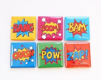 Comic Magnets, Magnet set, Magnets, Fridge Magnets, Kitchen Magnets, Square Magnets, button magnets, Bright Colors, Comics, Bang, Pow (4588)