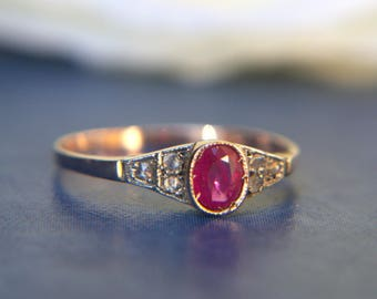Antique Inspired 9ct Rose Gold Ruby Solitaire Ring with Diamond Shoulders | Engagement band with a solitaire Ruby stone