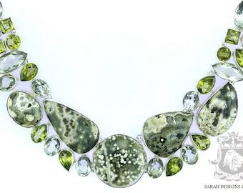 Excellent Quality Madagascar Ocean Jasper PRASIOLITE Green Amethyst 925 SOLID Sterling Silver Necklace & FREE Worldwide Shipping