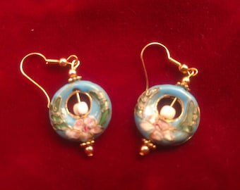 Blue cloisonne  French hook earrings