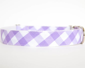 Gingham Dog Collar in Purple