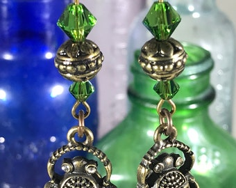 Beetle with Green Swarovski Crystals Earrings