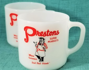 Vintage Federal Glass Advertising Milk Glass Mugs Prestons Supermarket,  Signed Federal Glass 1959 to 1966