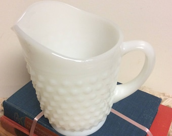 Vintage Milk Glass Hobnail Serving Pitcher Small Milk Pitcher Collectible Shabby Chic