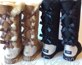Swarovski Uggs - Tall 3 Bow Bailey Bow Ugg Boots Authentic Hand Jeweled w/  over