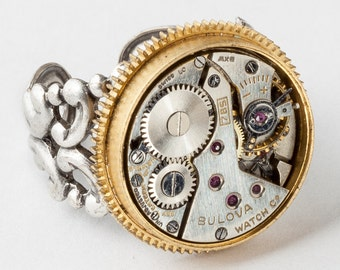 Steampunk Ring Vintage watch movement gold clock gears adjustable band Statement silver filigree Cocktail Ring Unisex Steampunk jewelry