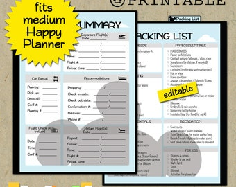 HAPPY PLANNER Printable Disney vacation dashboard & EDITABLE packing checklist; Insert; Divider; pdf
