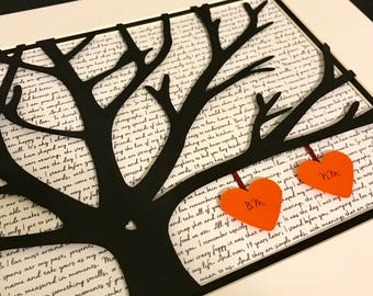 Gift Wedding Vows, Wedding Vows Gift, Personalized 11X14 Unframed 3D Paper Tree Wedding Gift, Anniversary, Wedding Song Lyrics