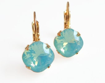 Mint opal crystal earrings - cushion cut crystal earrings - Swarovski crystal - Swarovski earrings - mint green