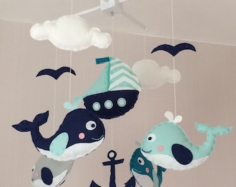 Baby mobile - Crib mobile - Cot mobile - nautical baby mobile - whales mobile - Cloud mobile