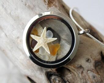 Star fish locket, star fish necklace, ocean locket, sea shell necklace, sea glass necklace, sea glass, sea glass pendant, star fish