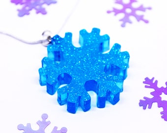 Blue Snowflake Necklace   Festive Necklace   Kawaii Christmas   Winter Necklace   Christmas Statement Necklace   Quirky Christmas   Blue
