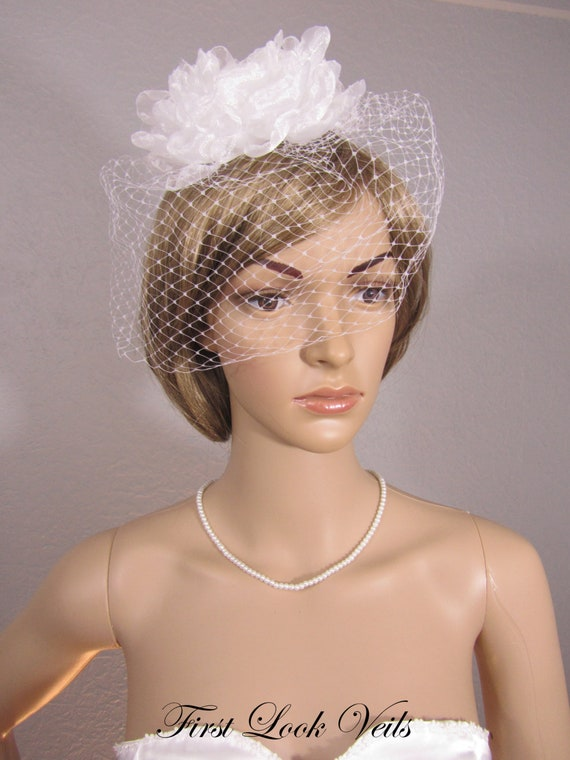 White Birdcage Veil, Bridal Fascinator, Bridal Veil, Bird Cage Veil, Russian Netting Veil, Wedding Vail, Birdcage Veil, White Vale, Veil