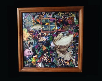 Original Art, Collage, Mixed Media, Framed Wall art, Unique 'Catching the frame' 2016 Artwork by Marty Mirage Glastonbury