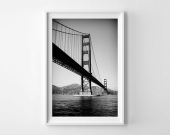 Golden Gate Bridge Photography - San Francisco Art, Vertical Wall Art, Black and White Art Print - Small and Oversized Art Prints Available