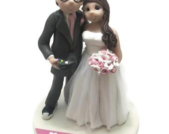 Custom wedding cake topper, Disney Lovers wedding cake topper, Bride and groom cake topper, Mr and Mrs cake topper, personalized cake topper