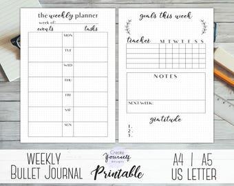 Bullet journal printable - weekly bullet journal, weekly planner, dot grid journal, bujo printable, printable journal pages, planner insert