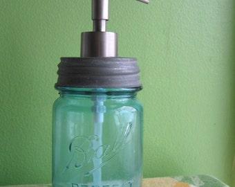 Blue Mason Ball Pint Jar Upcycled Soap Dispenser