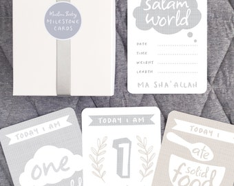 Ma sha' Allah Baby Milestone Cards, Islamic baby Gift, Muslim Baby Nursery Decor
