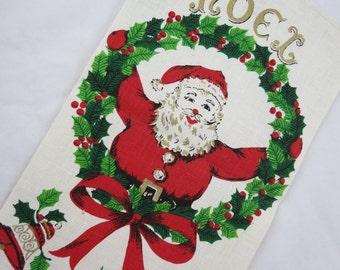 Vintage Christmas Tea Towel - Christmas Linen Tea Towel - Santa Tea Towel - Noel Tea Towel - Glamper - Cabin - Free Shipping