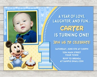 Mickey Mouse 1st Birthday Invitation, Mickey Mouse Birthday Invitation - Digital File (Printing Services Available)