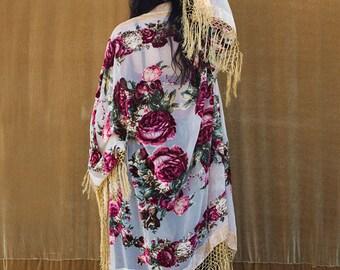 Burnout Velvet Kimono with Fringe, Bridal Robe, Piano Shawl- Cream Rose