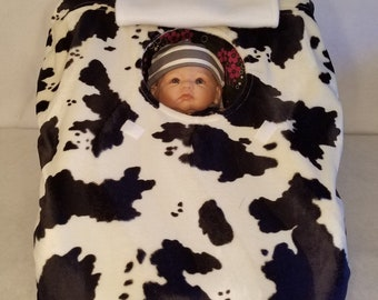 "Car Seat Cover Black n White Cow Print Faux Fur n White Fleece Lining Custom Embroidery ""My Little Cowboy or Cowgirl"" & Hat Cozy Infant Baby"