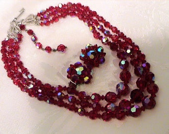 Vintage Triple Strand AB Red Faceted Crystal Necklace and Earrings Set