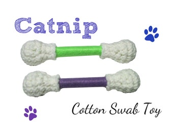 Cat Toy -  Cotton Swab Cat Toys - LARGE  - Available in Catnip, Lemongrass, SilverVine, Valerian, and Honeysuckle