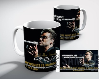 GEORGE Michael Personalised TRIBUTE White Coffee MUG