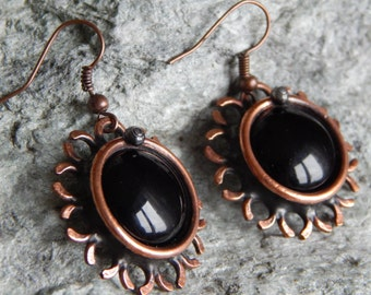 Copper earrings Black earrings Flower earrings Steampunk earrings Vintage jewelry Round earrings For her For mom For women Birthday gift