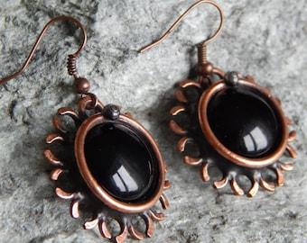 Copper earrings Black earrings Flower earrings Steampunk earrings Vintage jewelry Round earrings For her For mom For women Birthday gift