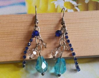 Crystal rockstar earrings, blue crystal earrings, swarovski earrings, aqua earrings, blue earrings, royal blue cup chain,