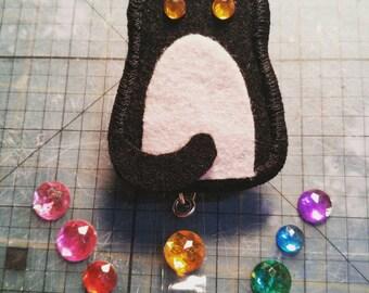 Black Kitty Cat Halloween ID Badge Holder Reel Clip