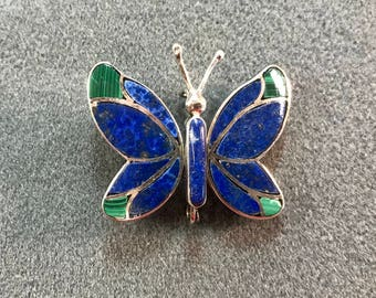Handmade Articulated Sterling Silver Butterfly Brooch with Lapis and Malachite Inlay-As is. Free shipping.