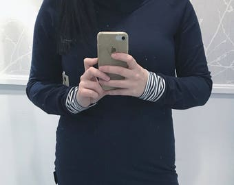 Hoodie for wife, Navy Cotton/spandex, cuffs and inside of Navy and white striped Cap