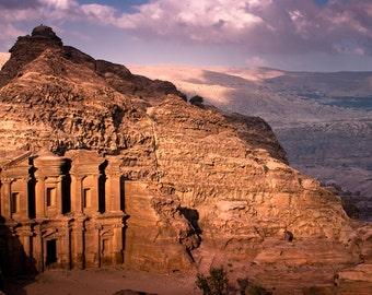 landscape photography, jordan, color, fine art photography, petra, monastery, sunset