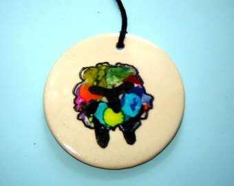 Sheep Ornament – Alcohol Ink Painting – Handmade Ceramics – Gift for Knitter – Farm Animal – Colorful Decoration – Wall Hanging