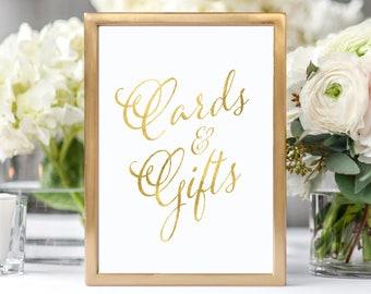 Wedding Cards and Gifts Sign Gold Wedding Reception Sign Rustic Wedding Decor Cards and Gifts Wedding Sign Wedding Decorations Gold Wedding