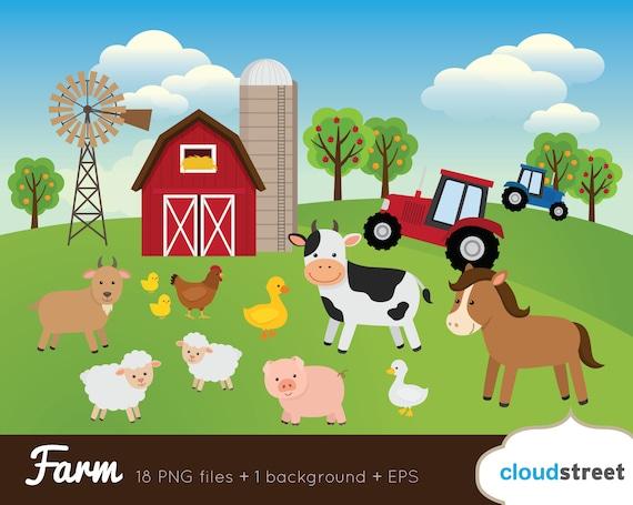 buy 2 get 1 free farm clipart farm animal clipart barnyard rh etsy com barnyard animals clipart free barnyard animals clipart free