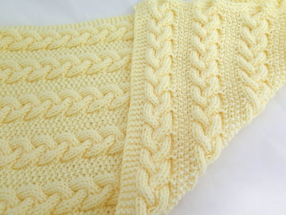 KNITTING PATTERN, Reversible Cable Baby Blanket, Cable Baby Blanket ...