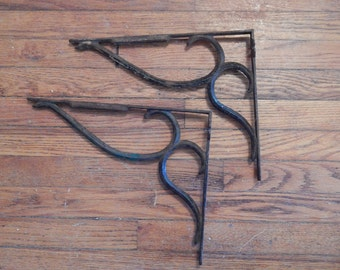 Pair of Antique Hand Wrought Iron Brackets . 14 x 11 1/8