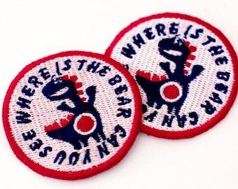 Haberdashery/badges/dinosaur patch applique 2 Navy 47mm